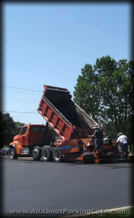 asphalt paving contractors installing an asphalt-blacktop parking lot