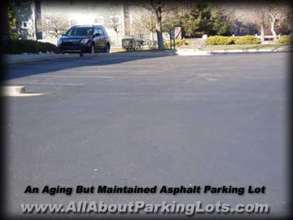 an older asphalt parking lot and the effects of aging and oxidation from the sun
