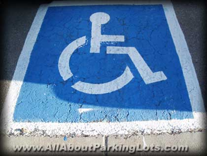 A poor handicap emplem pavement marking