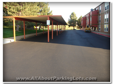 A newly installed asphalt parking lot by a reputable asphalt paving contractor! 