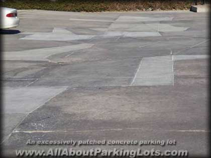 a concrete parking lot that was not maintained properly
