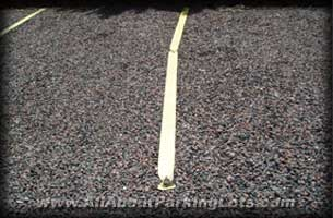parking lines on a gravel parking lot